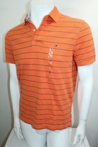 Tommy Hilfiger Custom Fit Thin Stripe Pique Polo FIT Sz Small Color Orange NWT - $32.39