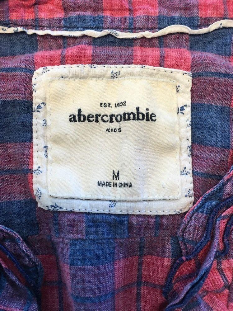 Abercrombie Kids Girl's Blue & Pink Plaid V-Neck Dress Shirt - Medium image 4