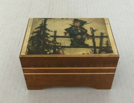 Vintage wood music box plays Lara's theme from Dr. Shivago Hummel print lid  - $24.70