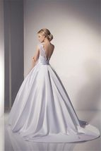 Sexy Illusion Backless Romantic Lace Ivory White Ball Gown Wedding Dress image 3
