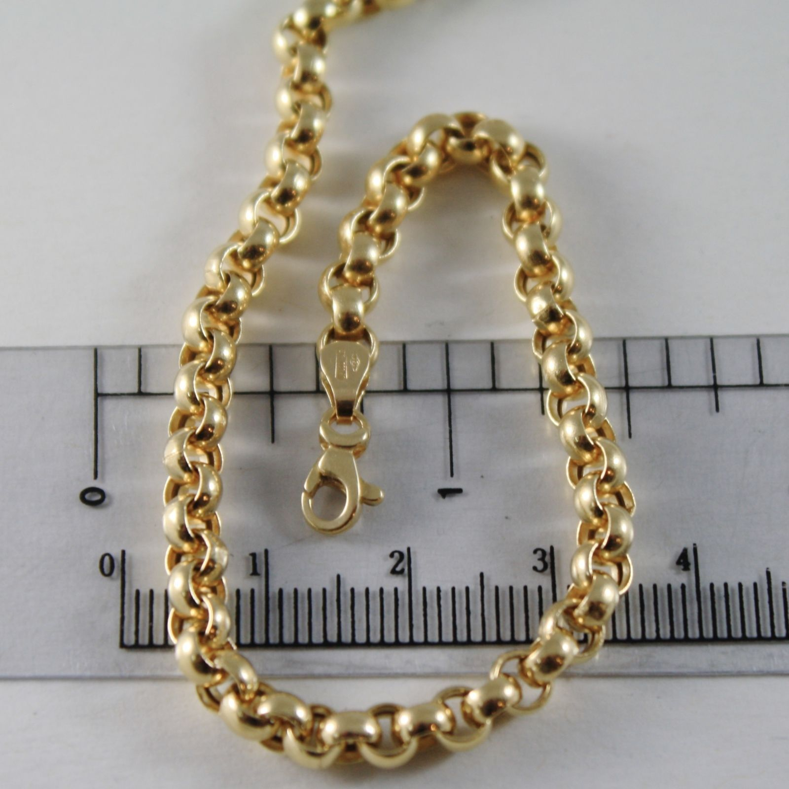 18K YELLOW GOLD CHAIN 17.70 IN, BIG ROUND CIRCLE ROLO LINK, 4 MM MADE IN ITALY