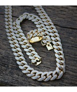 Men's Gold Diamond Fully Iced Out Cuban Link Chain Ring & Bracelet Combo... - £145.79 GBP+