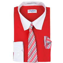 Berlioni Italy Boys Two Toned Kids Toddlers Dress Shirt With Tie & Hanky Set image 2