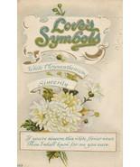 Vintage Postcard Valentine Love's Symbols White Chrysanthemum Sincerity ... - $6.92