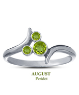 Peridot Stone August Birthstone Mickey Mouse Ring 925 Silver White Gold ... - $25.99