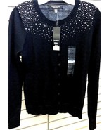 Central Park West New York Women's Sequin Cardigan Sweater  Black  Sz Small - $10.40