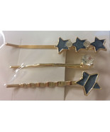 Set of Three HAIR CLIPS Metal Hairclips Hairpins BLUE STAR SHAPE >5.5 cm... - $8.88