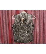 GUESS LOS ANGELES WOMENS BLACK FAUX LEATHER SLEEVELESS VEST SIZE L GUC - $39.99