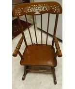 "VINTAGE Hedstrom Child's Stenciled 24"" Wooden Rocking Chair Rocker USA - $123.75"
