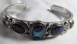 "Fashion silver tone metal ABALONE shell cuff bracelet 7"" - $33.66"