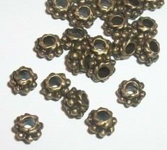 Metal Spacer Beads 4mm Spacer Beads Antiqued Silver Sun Spacer 100//200//300