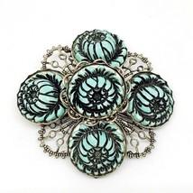 Vintage Silver Tone Brooch VTG Blue Flower Pin VTG - $9.97