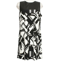 RALPH LAUREN Black Cream Stretch Jersey Abstract Faux Leather Yoke Dress 18 - $69.99