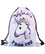 Unicorn backpack 3d printing travel softback women mochila drawstring bag school girls thumbtall