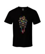 Santa Claus On Bike Black T Shirt - $17.99 - $19.99