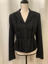 Elie Tahari Womens Black Snap Front Lined Jacket Blazer Long Sleeve Coll... - $42.27