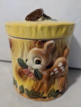 Bambi Deer Cookie Jar Vintage MCM Japan Yellow Brown Fall Anthropomorphic - $42.03