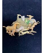 Vintage Gold Tone Noahs Ark Pin With Giraffe, Elephant, Zebra, Lion, Wol... - $7.50