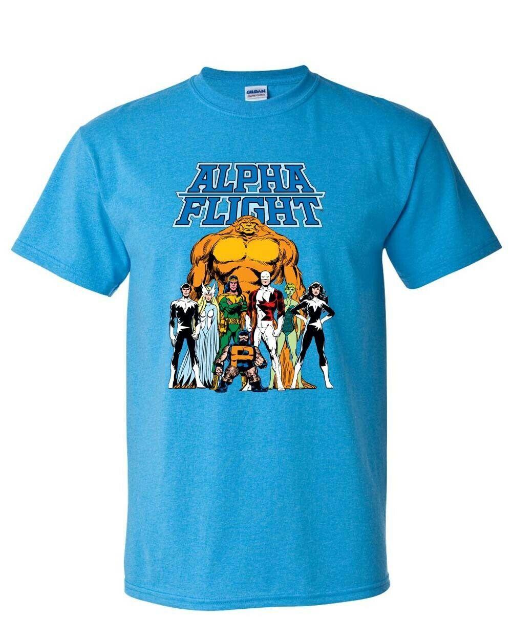 Alpha Flight T-shirt Aurora Guardian Puck Sasquatch Shaman 90s Marvel blue tee