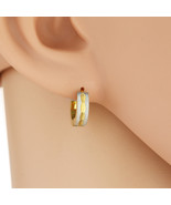 UNITED ELEGANCE Trendy Two Tone (Silver & Gold Tone) Huggie Hoop Earrings - $12.99