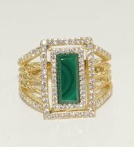 New Judith Ripka 14K Gold Clad 925 St Silver Green Malachite CZ Ring Sz ... - $177.64