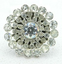 CORO Clear Rhinestone Silver Tone Flower Large Brooch Vintage image 1