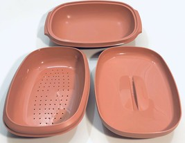 Vintage Tupperware 6 Cup Dusty Rose Pink 3 Piece Microwave Steamer 1273-4 - $24.95