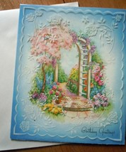 Mid Century Wallace Brown Embossed Floral Trellis Birthday Card 1960s Un... - $5.99