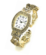 Antique Elegant Metal Bangle Cuff Fashion Watch with Marcasite - £47.98 GBP