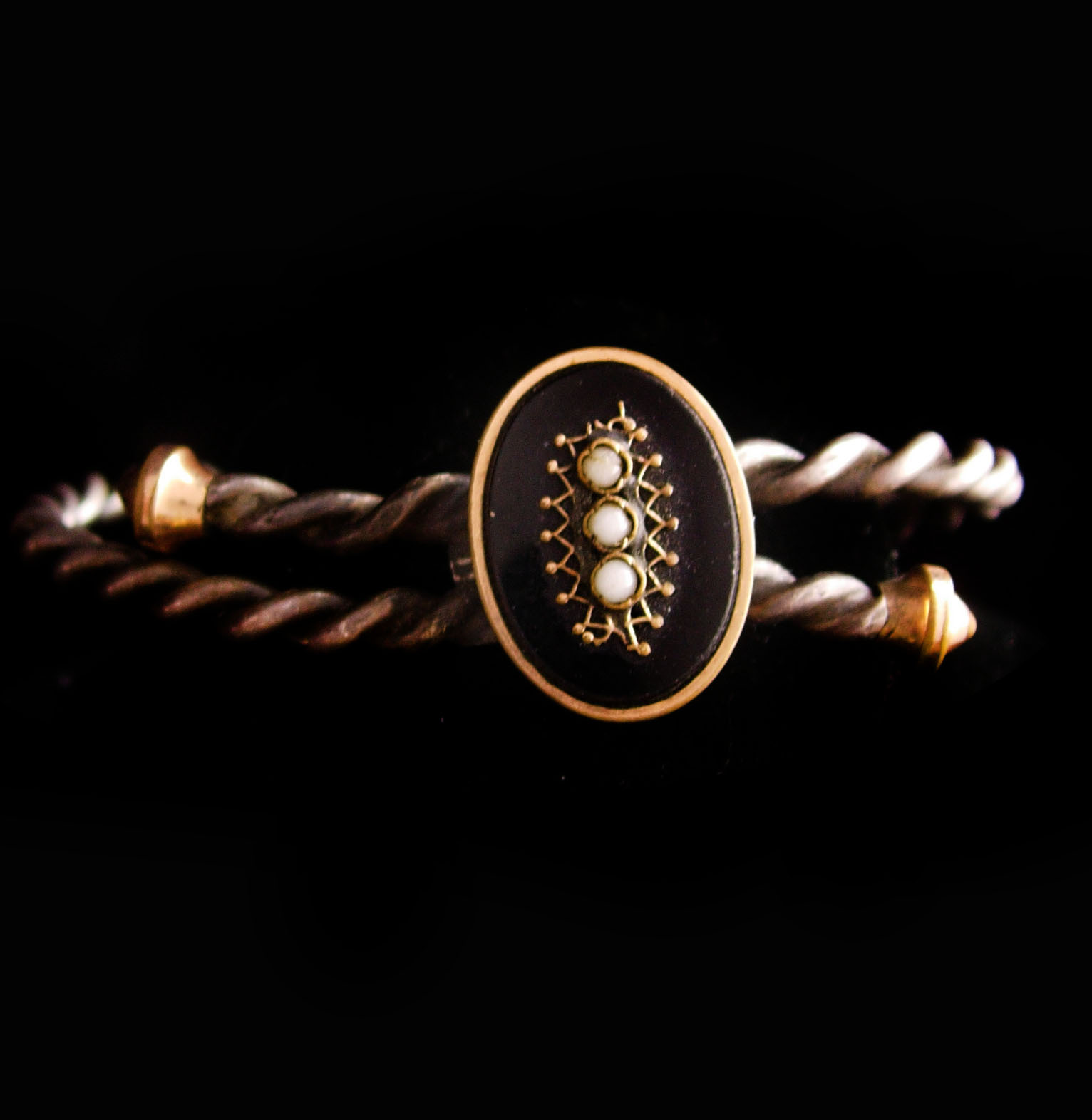 1879 Victorian seed pearl Bracelet - vintage ornate gold metal work - Antique ro