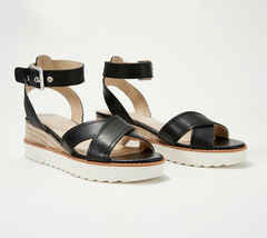 Marc Fisher Leather or Suede Cross Strap Wedges- Jovana Black 7 M - $59.39