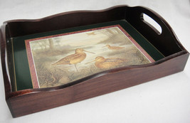 "Wooden Serving Tray Sandpipers Shorebirds Green Border 2"" Sides Beautiful - $44.54"