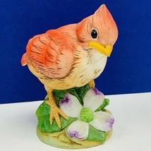 Cardinal figurine Andrea Sadek 6350 vtg baby chic japan porcelain flower... - $19.16
