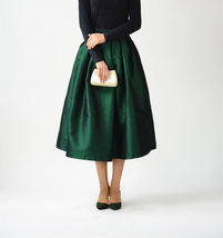 A-line Pleated Taffeta Skirt Ruffle Plus Size Pleated Skirt -Emerald Green, Red image 2