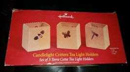 Hallmark candlelight critters tea light holders. Terra Cotta. Set of 3. NEW - $12.86