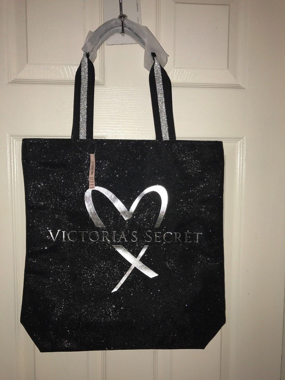 Victoria/'s Secret Sequin Bling Zippered Tote Bag /& Black Mini pouch Bag New