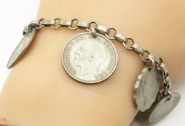 925 Sterling Silver - Vintage Rolo Link Charmed Coin Chain Bracelet - B4995 - $118.39