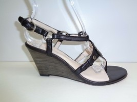 Coach Size 6.5 M HARPER Black Leather Embellished Wedge Sandals New Womens Shoes - $147.51
