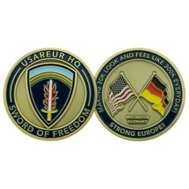 "ARMY EUROPE USAREUR WIESBADEN SWORD OF FREEDOM FLAGS  1.75"" CHALLENGE COIN - $16.24"
