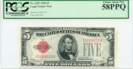 FR. 1525 1928 $5 Legal Tender Note PCGS About New 58 PPQ - Legal Tender ... - $82.45