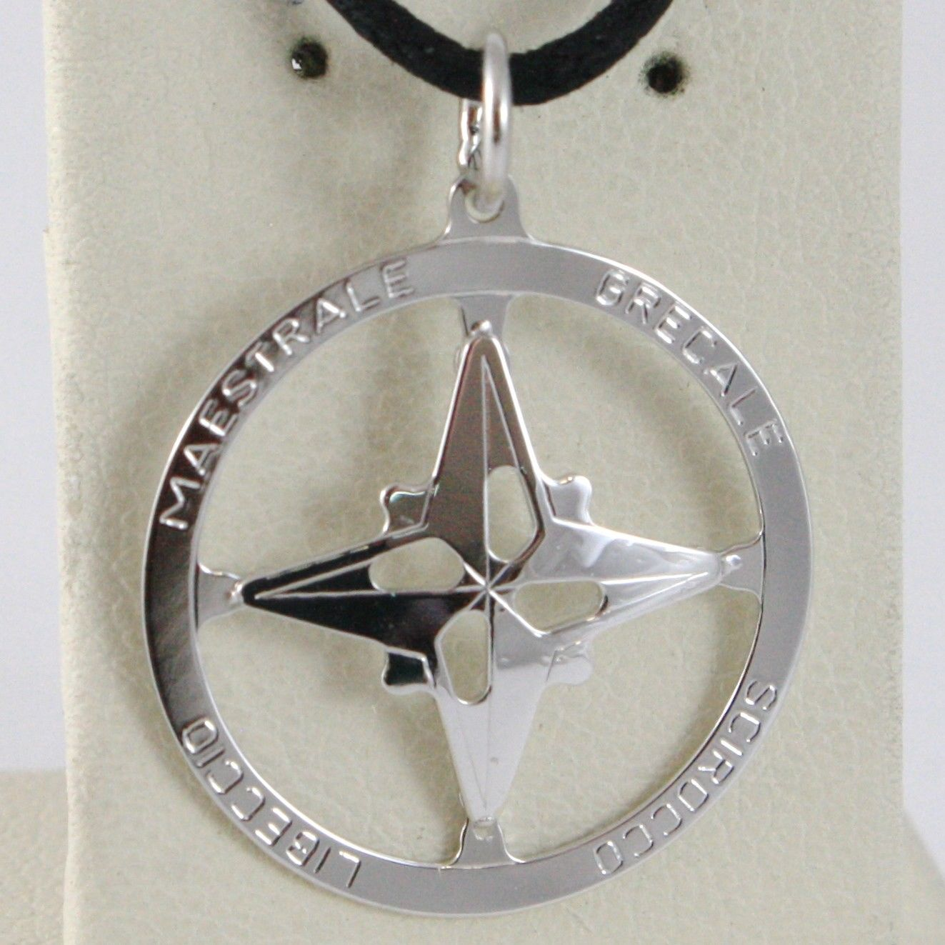 18K WHITE GOLD 19 MM WIND ROSE COMPASS CHARM PENDANT, STAR, MADE IN ITALY