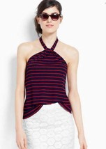 Ann Taylor Halter Top Large PETITE Rope Striped Summer Blouse Red/Navy 1... - $30.94