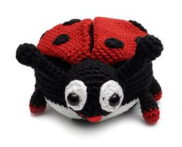 Black-Red Ladybug Handmade Amigurumi Stuffed Toy Knit Crochet Doll VAC - $26.73
