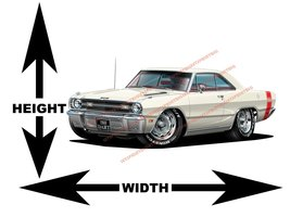 1969 Dodge Dart GTS White Muscle Car Wall Art Decal - $42.00+