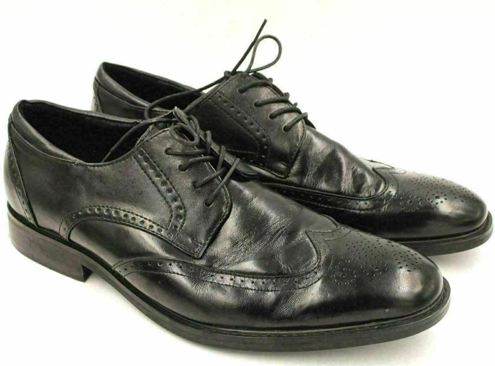 Primary image for Joseph Abboud Men Leather Wingtip Oxfords Size US 11D Black