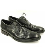 Joseph Abboud Men Leather Wingtip Oxfords Size US 11D Black - £27.47 GBP