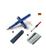 Lamy Safari Blue Fountain Pen F Nib Set with Free Converter + 5 black T1... - $25.82