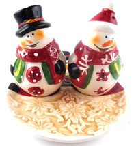 Christmas Snowman Salt & Pepper Shaker Set with Setting Plate in Box - $12.73