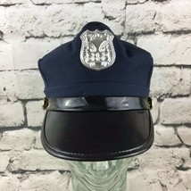 Childrens OSFA Police Officer Hat Navy Blue Silver Badge Adjustable Cost... - $9.89