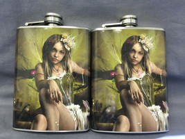 Set of 2 Fairy D9 Flasks 8oz Stainless Steel Drinking Whiskey - $12.63